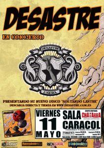 Cartel de Desastre. Concierto 11 de mayo en Madrid