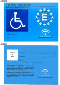 Tarjeta de autorización especial de aparcamiento para discapacitado