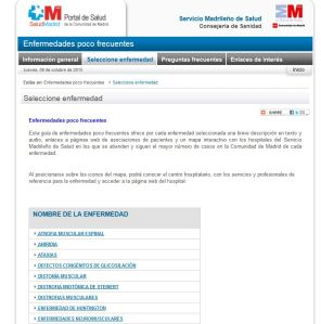 pantallazo de la web del SERMAS